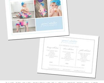 INSTANT DOWNLOAD, Sell Sheet, Collections or Packages Pricing Template, Photography Marketing Template, 5x7 size, Newborns, Seniors, Family