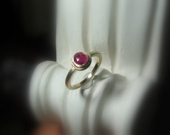 Rose Cut Sapphire Ring, Non Traditional Engagement, Brushed Matte, Size 6.25, Ready to Ship