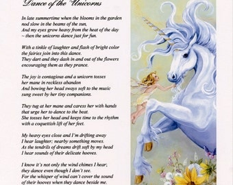 POEM and ILLUSTRATION of UNICORN and Fairies, flowers, garden, nature, fantasy, original poem, wall art, gift for her