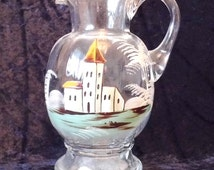 Antique Mary Gregory Hand Painted/ Enamelled Glass Water Jug Pitcher Ewer, Gorgeous Decorative Item, Lovely Quality, Victorian Piece