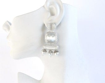 White and Silver Bridal OOAK Post-Back Earrings - bead embroidery with pearls and cats eye glass cabochons in modern art deco style