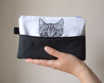 cat pouch cat portrait pencil case gift idea for crazy cat lady cat lovers for teens hand painted fabric cotton black and white