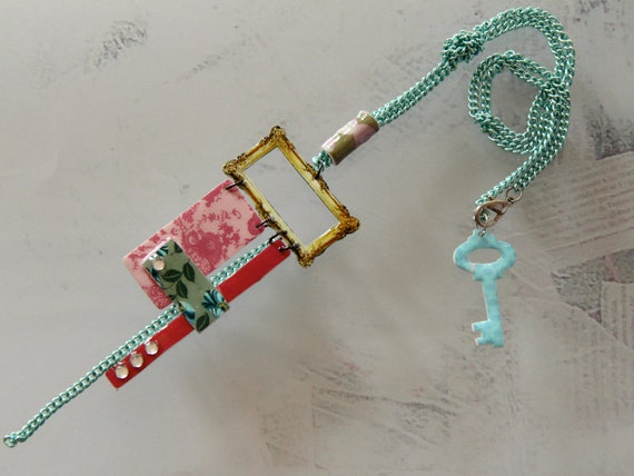 sexy pink necklace with a bling - turquoise chain - pink and teal necklace - blue key necklace  - pink lace pattern -  gold picture frame