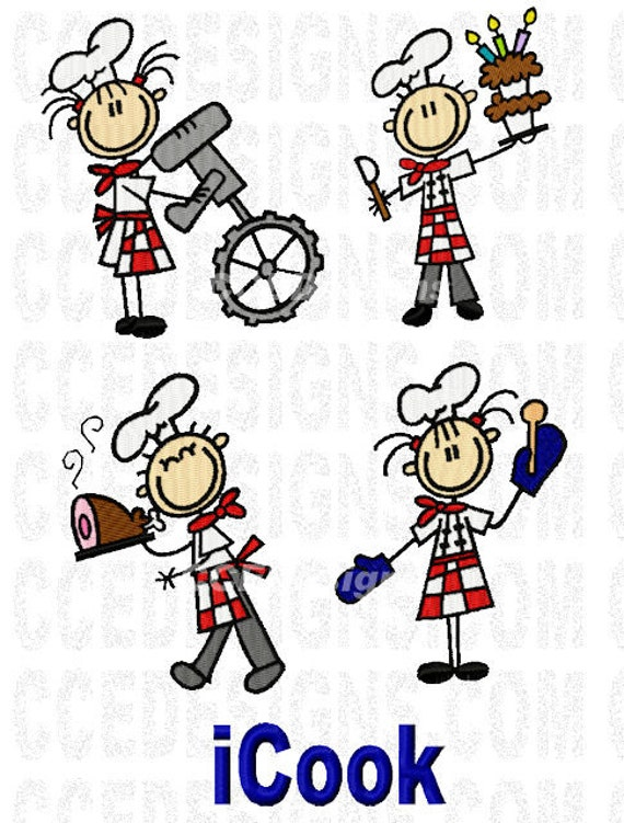 Kids Cooking Fun Machine Embroidery Design 4x4, 5x7 by ...