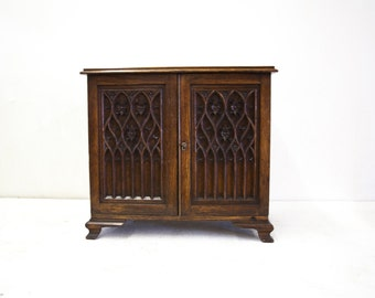 English Ok Fitted Stationary Cabinet with Carved Gothic Doors