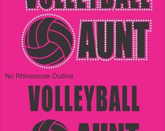 Volleyball Aunt Sweatshirt/ Volleyball Aunt Hoodie/ Rhinestone Volleyball Aunt/ Vinyl Rhinestone Volleyball Aunt Hoodie Sweatshirt