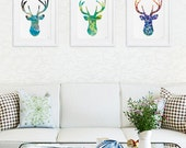 Antler, Stag, Blue Deer Print Set of 3 - Minimalist Art - Watercolor Poster Silhouette Art - 11x14 Prints - Wall Decor, Home Decor, Gifts