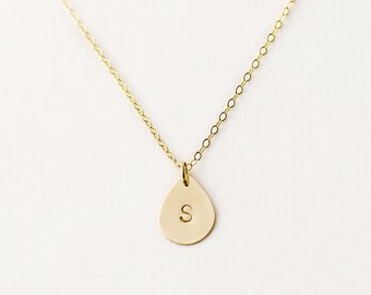 14k Gold filled initial necklace - personalised gold filled teardrop - initial charm necklace - custom engagement gift