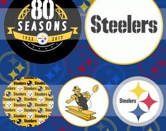 Pittsburgh Steelers (082) Digital Collage Sheet 4x6 bottle cap images .. Bottlecap glass tiles ..