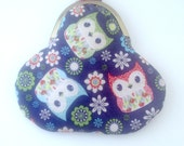 Owls Coin Purse with Butterfly and Flower Lining