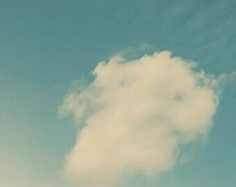 Aqua Sky, White Clouds, Ombre, Vintage Feel, Sky Wall Art, Blue, Faded, Nursery, Bedroom, Living Room, White Clouds, 8x8 Photo Print