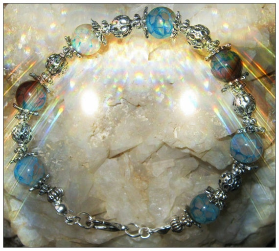Handmade Silver Bracelet with Blue Dragon Vein Agate by IreneDesign2011