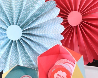 "Japanese Kokeshi Doll Party- 2"" & 1.5"" Tags/Cupcake toppers-- Custom Printable PDF"