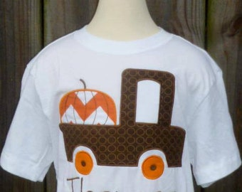 Personalized Truck with Pumpkin Applique Shirt or Onesie for Boy or Girl