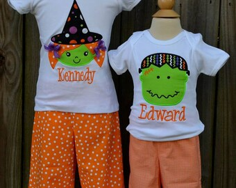 Personalized Halloween Witch or Monster Applique Shirt or Onesie for Boy or Girl
