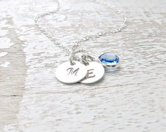 Personalized Initial Necklace Sapphire Birthstone Necklace Monogram Necklace custom Initial Necklace monogram Jewelry 925 Sterling Necklace