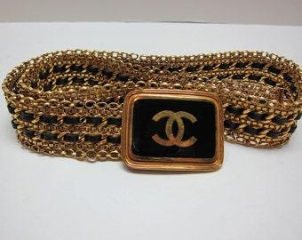 Authentic Chanel Vintage Gold Chain Belt