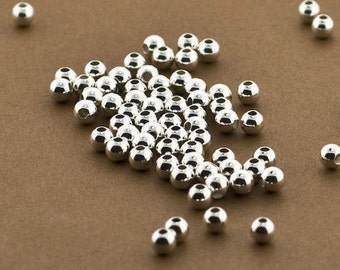 25 Sterling Silver 4mm Round Seamless Smooth Beads  - 4mm Silver Beads