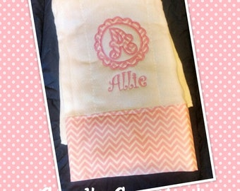 Personilized Girl's Burp Cloth-Monogrammed Circle Initial Appliqué