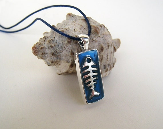 Fish necklace, surfer jewelry, fishbone necklace, blue resin pendant, mens jewelry, unisex jewelry, fish charm, summer beach jewelry