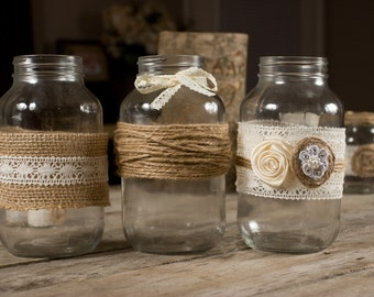 Country Rustic Wedding Mason Jars Set of 3 Wrapped with Burlap and Lace
