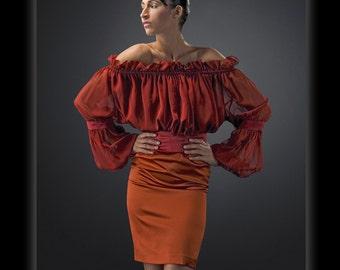 Orange crepe back satin Pencil Skirt