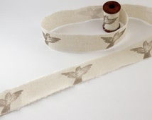 Handmade Ribbon - Hand Stamped Ribbon - Cotton Ribbon - Bird Ribbon - Swallows - 1.5m