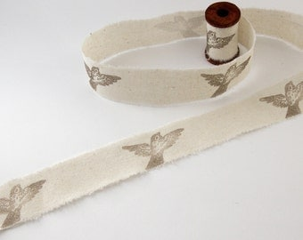 Handmade Ribbon - Hand Stamped Ribbon - Cotton Ribbon - Bird Ribbon - Swallows - 1.5m