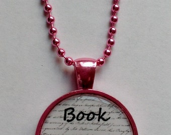 Book Geek Pink Cameo Necklace
