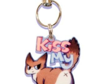 Kiss My Ass Cat Phone Charm