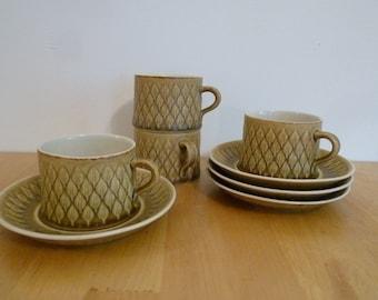 Set of 4, Vintage Jens Quistgaard Relief Cup & Saucer, Kronjyden, made in Denmark, mid century, modern, 1960s