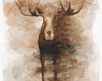 Moose Watercolor Print
