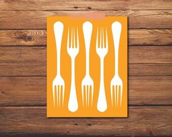 Kitchen Print - Fork Illustration - Kitchen Quote Print - Kitchen Chalkboard - Kitchen Art - Kitchen Fork - Printable Art - Chalkboard Art