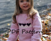 PDF Knitting PATTERN~Pink Heart Baby Sweater.  Sizes: 3-6 (6-9)months, 1-2yrs.