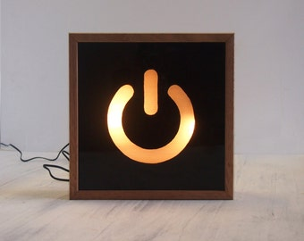Light Box Hand Painted Power Switch Symbol / Wooden Lightbox / Lighted Sign / Illuminated Sign / Tasmanian Oak Frame / LED
