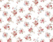 Wallpaper Country Garden Floral Toss - Chic Cottage, Bouquet, Flower, Burgundy, Blue, White - By The Yard - HM26307