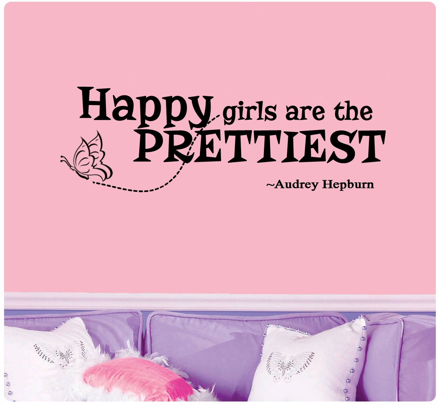 Happy Girls Are The Prettiest Quotes: Audrey Hepburn Quote Happy Girls Are The Prettiest Wall Decal