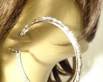 Large 2.75 inch Rope Texture Hoop Earrings Silver Tone