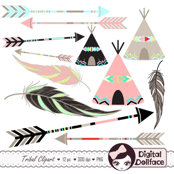 Tribal Arrow Clip Art, Digital Feather, Teepee Clipart, Aztec, Native ...