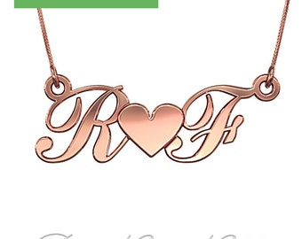 Heart and Initials Necklace for Couples in 14k Rose Gold (0.8mm Thick) - Inspired by Glee's Rachel and Finn