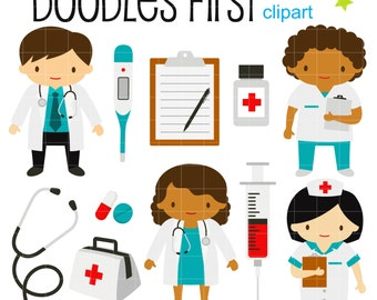 Little Doctors and Nurses Digital Clip Art for Scrapbooking Card Making Cupcake Toppers Paper Crafts