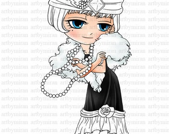 Digital Stamp - Flapper 1920's, Girl Digi Stamp, Big eyed Coloring page, Printable Line art for Card and Craft Supply, Art by Mi Ran Jung