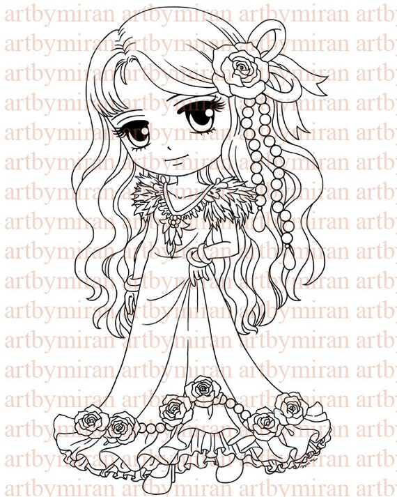 Digital Stamp-Pretty Molly(#110), Digi Stamp, Coloring page, Printable Line art for Card and Craft Supply