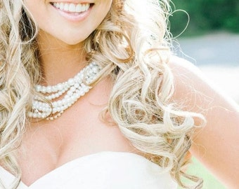 Pearl Bridal Jewelry - Pearl and Crystal Bridal Necklace -  Statement Wedding Necklace - Vintage Style - Chunky Pearl Necklace
