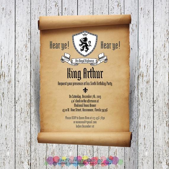 Medieval Knights Printable Scroll Birthday by ...