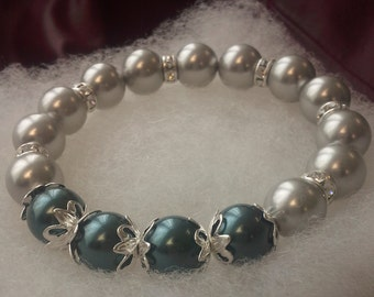 Gray and Tahitian Pearl Stretch Bracelet embellished with crystals from Swarovski®
