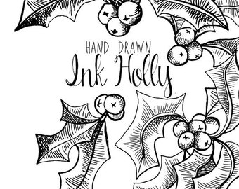 Ink Drawing Holly Branch Clip Art For Scrapbooking Holiday Season Vintage Style Instant Download Christmas