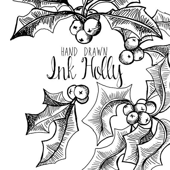 Ink Drawing Holly Branch Clip Art For Scrapbooking Holiday Season Vintage Style Instant Download Christmas Clipart Festive From DigitalPressCreation