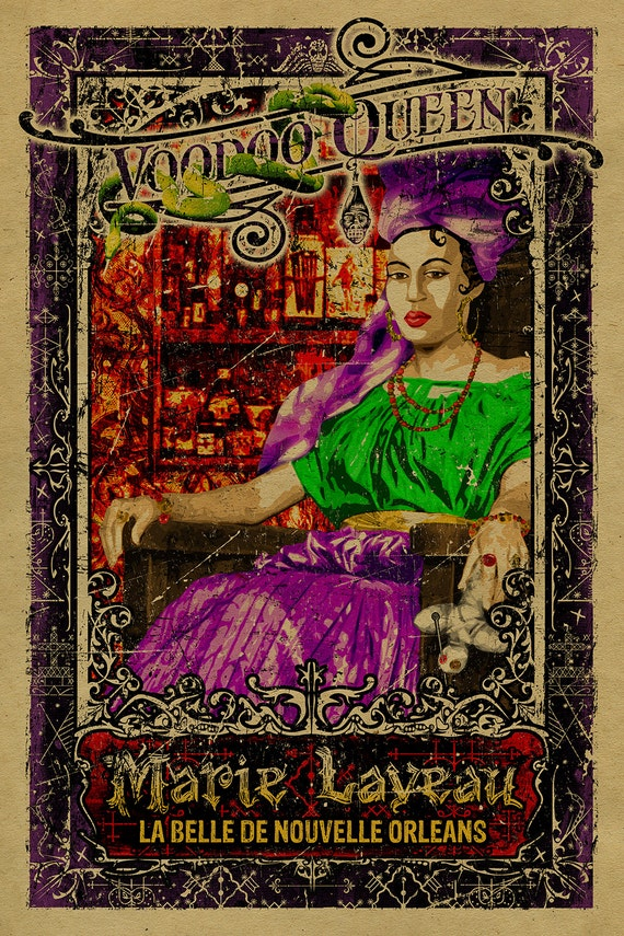 New Orleans Voodoo Queen Marie Laveau 12x18 Kraft Paper