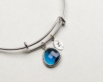 Personalized Blue Sapphire Bangle Bracelet, Adjustable Bangle, Expandable Bracelet, Bridesmaid Jewelry